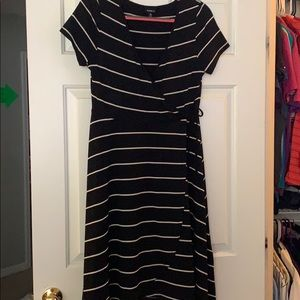 Torrid black white stripe wrap dress size 00